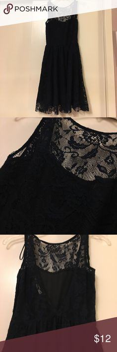 Zara Navy Lace Dress Size S Beautiful navy Lace Dress with high neckline and plunging V-shaped back. Never worn, in excellent condition. Zara Dresses