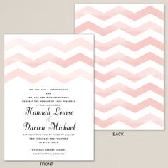 Exclusively Wedding's Watercolor Chevron Wedding Invitation is trendy, creating a bold statement for your wedding wording.