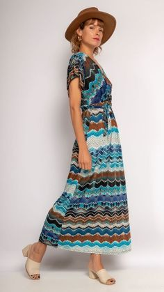 Blue wrap dress, blue maxi dress, blue summer dress, boho chic style, wrap dress, maxi dress Blue Summer Dresses, Short Sleeve Dresses, Dresses With Sleeves, Blue Maxi, Maxi Wrap Dress, Boho Chic, Style, Fashion, Swag