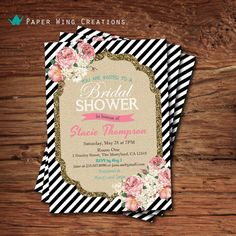 Shabby Chic Bridal Shower Invitation. by ThePaperWingCreation, $15.00