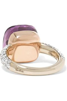 Pomellato - Nudo 18-karat Rose And White Gold, Amethyst And Diamond Ring - 12/13