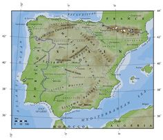 Map showing mountain ranges and the Meseta. Description from spainthenandnow.com. I searched for this on bing.com/images