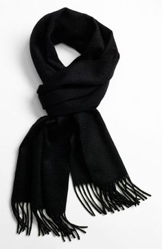 $65, Black Scarf: John W. Nordstrom Cashmere Scarf Black One Size. Sold by Nordstrom. Click for more info: http://lookastic.com/men/shop_items/113329/redirect
