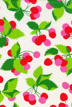 Vintage Cherry White Fabric by vickifab