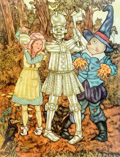 Wizard of Oz - Oiling Tin Man - Vintage Book Page - Great for Framing Wizard Of Oz Book, Dorothy Wizard Of Oz, Halloween Illustration, Illustration Art, Book Illustrations, Fantasy Films, Fantasy Art, Tin Man, Vintage Men