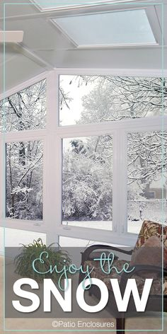 Enjoy the snow and the beauty of winter while staying warm in your four season sunroom. Four Season Sunroom, Three Season Room, Solarium Room, Patio Enclosures, Outdoor Living Rooms, Screened In Porch, Sunrooms, Stay Warm, Custom Design