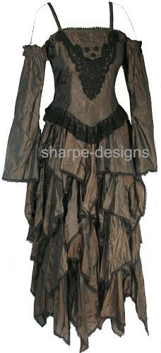 sharpe-designs - romantic gothic witchy drop sleeve dress.