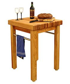 @Overstock - Catskill Craftsmen table boasts matchless quality in a supremely simple, classic designFrench Country kitchen/ dining/ patio table features a food safe oil finishButcher block top is a massive 24 inches square x 3 inches thickhttp://www.overstock.com/Home-Garden/Catskill-Craftsmen-French-Country-Butcher-Block-Table/2887070/product.html?CID=214117 Add to cart to see special price