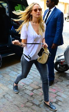 To a Tee from Jennifer Lawrence's Street Style  J.Law's white tee, graphite skinnies and black espadrilles make for an easy daytime look.
