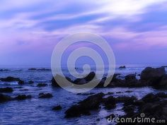 A dreamy view of violet pink rocky beach in the evening in Autumn in South Africa