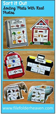 These Sorting Activities: Sorting Mats With Real Photos include 15 unique sorting mats that focus on sorting household items (life skills) and animal groups and habitats. Each sorting mat includes real photos and is in the shape of a related object of Autism Activities, Sorting Activities, Speech Therapy Activities, Language Activities, Classroom Activities, Life Skills Activities, Science Activities, Life Skills Classroom, Autism Classroom