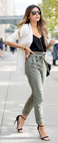 How to Style Paperbag-Waist Pants