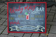 Bloody Mary Bar Sign.  16x20 / professionally printed.  Physical Product.  Chalkboard / red / yellow. by CharmingTouchParties on Etsy