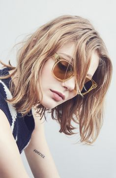 Layered, messy, chin length, slightly wavy hair.   oliver-peoples-eyewear:  Oliver Peoples x Byredo Collaboration