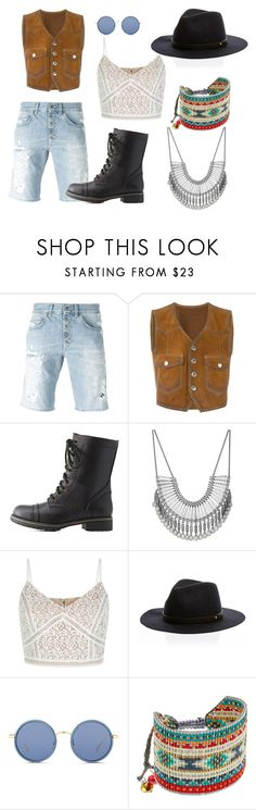"""Festival Outfit"" by ronihelor ❤ liked on Polyvore featuring Dondup, Dsquared2, Charlotte Russe, Lucky Brand, New Look, Linda Farrow and Mishky"