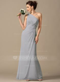Sheath Column One-Shoulder Floor-Length Chiffon Bridesmaid Dress With Ruffle  (007068385 2f5e6b9044bf