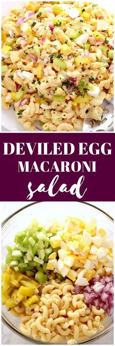 Deviled Egg Macaroni Salad Recipe - creamy pasta salad with macaroni, eggs, celery, pickles, red onion and delicious mustard paprika dressing!