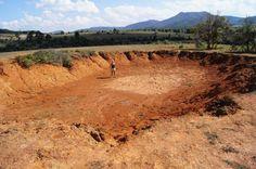 Bomb crater near Phonsavan, Laos