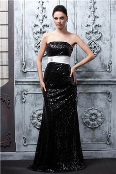 Elegant Column Sequins Band Floor Length Polinas Evening Party Dress