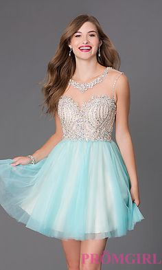 Short Sleeveless Alyce Dress with Illusion Bodice 3645 at PromGirl.com