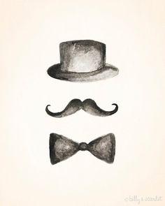 Moustache Art Moustache Hat & Bowtie 8x10 Print by BillyandScarlet, $20.00