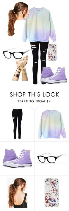 """""""Casual #2"""" by kawaii-unitato123 on Polyvore featuring Miss Selfridge, Converse, GUESS, Boohoo and Tattify"""
