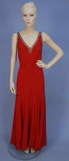 Bias Cut Silk Evening Gown, 1930's