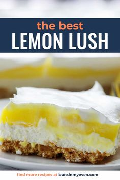 This lemon lush is a summer classic! The crust is made of Nilla wafers, the layers of cheesecake and lemon pudding, and this is perfectly sweet and tart! #lemon #recipe #dessert Lemon Lush Recipe, Lemon Lush Dessert, Lemon Dessert Recipes, Lemon Recipes, Easy Desserts, Baking Recipes, Delicious Desserts, Pudding Desserts, Chocolate Lush Dessert Recipe