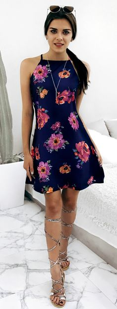 $26.99 Chicnico Lost In Flowers Casual Daily Multi Color Dress