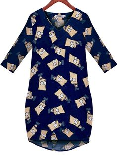 Europe fashion cartoon pattern printing decoration cute dress MK-9198