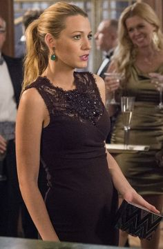 Serena van der Woodsen wearing Emilio Pucci Bordeaux Embellished Lace Trim Dress