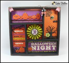 Home decor shadow box created with the DCWV Halloween Night stack.