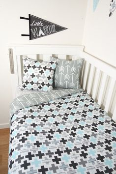 Black grey and aqua crosses and arrows nursery set by MamaAndCub