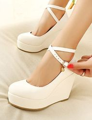 Celebrity Style Cross-Strap Round Toe Wedge Heels for Women
