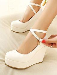 Celebrity Style Cross-Strap Round Toe Wedge Heels for Women