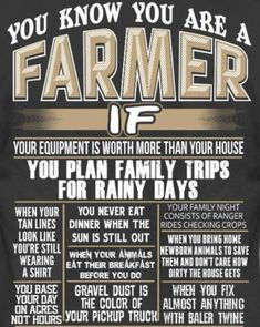 You know you're a farmer when. Country Girl Life, Country Girl Quotes, Country Farm, Country Sayings, Country Girls, Country Living, Country Roads, Farm Life Quotes, Farmer Quotes