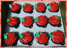 Red Rosette Cupcakes Kada S Katering Pinterest Rosette Cupcakes
