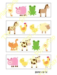Animal theme, Preschool Farm Animal Bingo Game-I could totally make this! Farm Animals For Kids, Farm Animals Pictures, Farm Animals Preschool, Farm Animal Crafts, Animal Projects, Farm Crafts, Animal Activities, Preschool Activities, Spanish Activities
