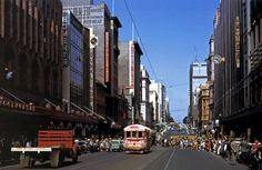 """Bourke Street, early From """"Trams and Streetscapes, Metropolitan Melbourne Melbourne Victoria, Victoria Australia, Historical Images, People Of The World, Urban Planning, City Photo, Street View, History, Building"""