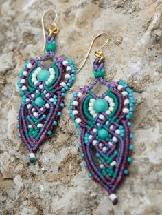 long earrings micro macrame earrings purple and by yasminsjewelry