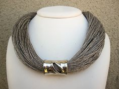 Necklace Linen Natural  Metal Silver Color Drop by espurna88