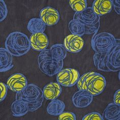 Famous Designer Midnight Blue Misc Printed Silk Chiffon 306930 From a famous designer known for her stellar silk prints, Mood presents a fabulous midnight blue silk chiffon filled with abstract scribbled circles in imperial blue and citronelle. Spring Line, Mood Fabrics, Famous Designer, Fashion Fabric, Fabric Online, Silk Chiffon, Midnight Blue, Textile Design, Overlays