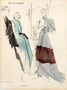 Hermes & Jeanne Lafaurie 1946 Housecoats Bernard Blossac