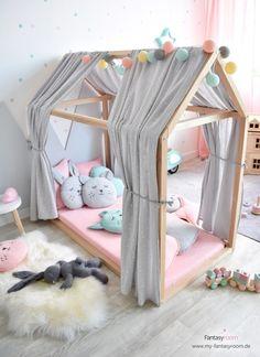 Muslin canopy for house beds & light gray Musselin Stoffhimmel für Hausbetten 'Sterne' hellgrau Soft, softer, Dinki Balloon Soft collection!