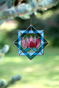 Stained Glass Suncatcher Pink Lotus Water Lily 3d by GalaGardens, $24.50