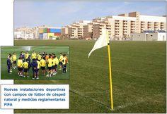 Nuevas instalaciones deportivas con campos de fútbol de césped natural y medidas eglamentarias FIFA.