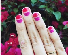 You don't have to commit to just one nail colour - Use TWO beautiful #spring colours with this stylish #mani. Learn how to nail this look! | http://thebeautydepartment.com/2015/04/nailed-it-spring-mani/