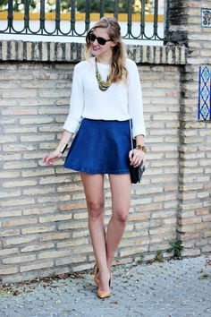 Navy Denim High Waisted A-skirt - Beautiful Clothes Photo Pretty Outfits, Beautiful Outfits, Pretty Clothes, Beautiful Clothes, Street Style 2014, Split Skirt, 2015 Wedding Dresses, Party Fashion, Women's Fashion