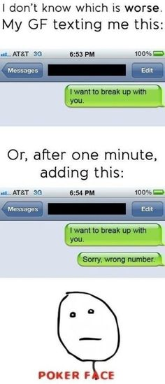 The Wrong Number Breakup - 15 Hilariously Bad Breakup Texts - best sayings/ funny quotes/pics - Funny Text Messages Cute Texts, Funny Texts, Funny Jokes, Hilarious, Halarious Texts, Funny Breakup Texts, Funny Wrong Number Texts, Awkward Texts, Drunk Texts