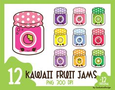 50% OFF SALE Kawaii jam clipart fruit jam clip art kawaii